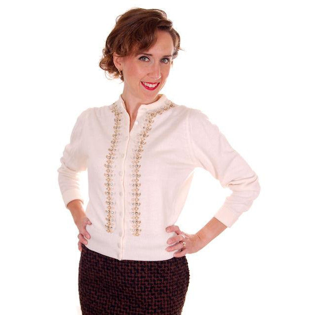 Vintage Ladies Ivory Sweater Embellished w Beads & Rhinestones 1950s M - The Best Vintage Clothing  - 1