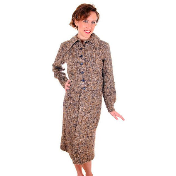 Vintage Ladies Suit Charcoal/ Gold Mohair Tweed Couture 1970s Medium - The Best Vintage Clothing  - 1