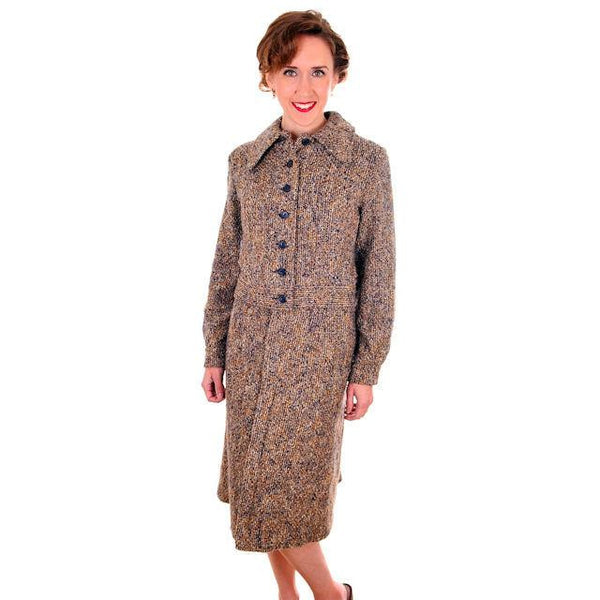 Vintage Ladies Suit Charcoal/ Gold Mohair Tweed Couture 1970s Medium - The Best Vintage Clothing  - 2