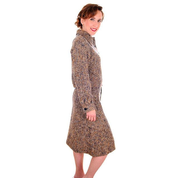 Vintage Ladies Suit Charcoal/ Gold Mohair Tweed Couture 1970s Medium - The Best Vintage Clothing  - 3