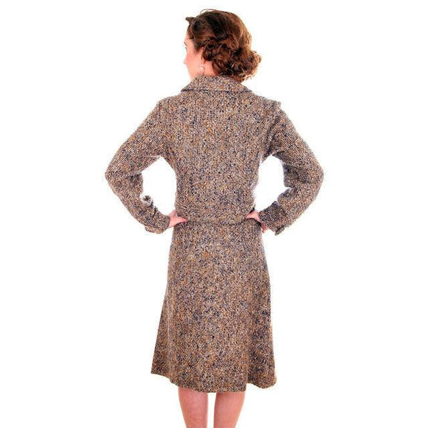 Vintage Ladies Suit Charcoal/ Gold Mohair Tweed Couture 1970s Medium - The Best Vintage Clothing  - 4