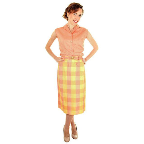 Vintage  Cotton Summer Skirt & Blouse 1950s Peach & Yellow Small