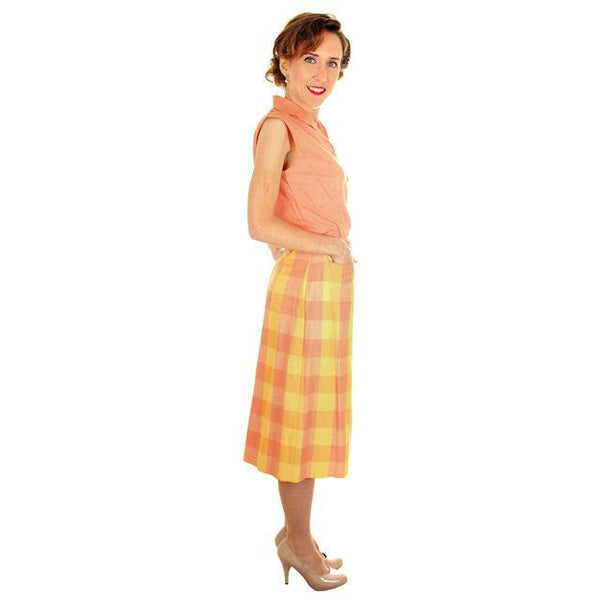 Vintage  Cotton Summer Skirt & Blouse 1950s Peach & Yellow Small - The Best Vintage Clothing  - 2