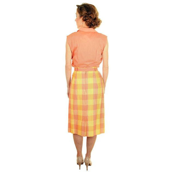 Vintage  Cotton Summer Skirt & Blouse 1950s Peach & Yellow Small - The Best Vintage Clothing  - 3