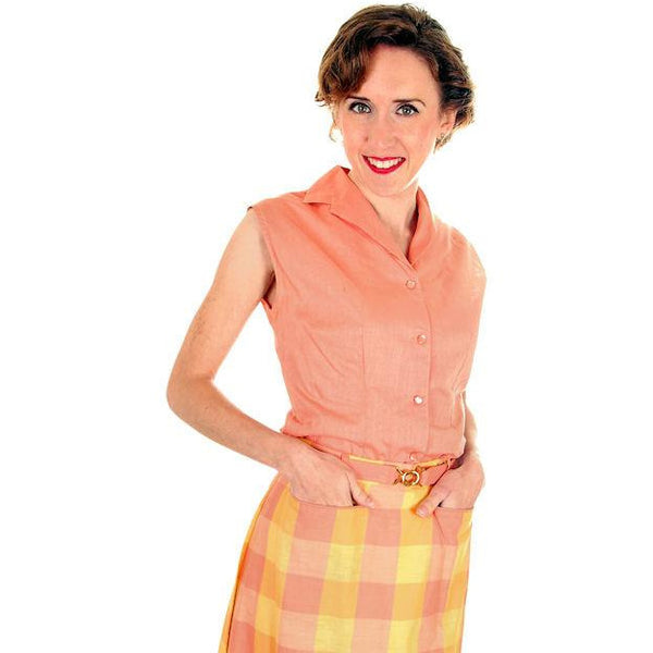 Vintage  Cotton Summer Skirt & Blouse 1950s Peach & Yellow Small - The Best Vintage Clothing  - 4