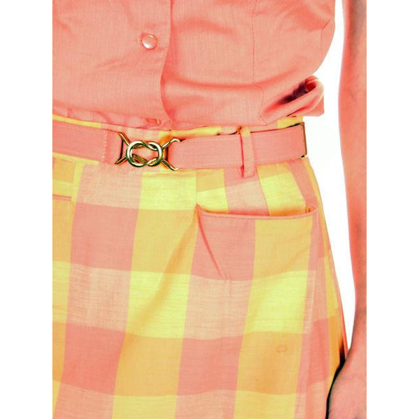 Vintage  Cotton Summer Skirt & Blouse 1950s Peach & Yellow Small - The Best Vintage Clothing  - 5