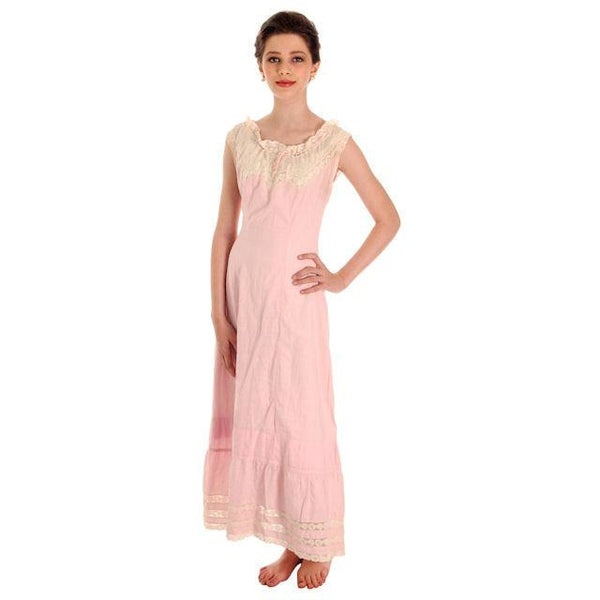 Antique Vintage Pink Polished Cotton Chemise Full Length Xsmall Pretty Princess - The Best Vintage Clothing  - 1
