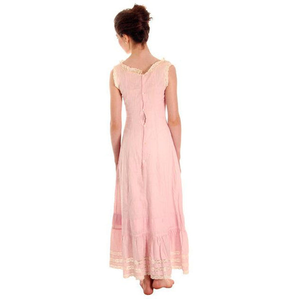 Antique Vintage Pink Polished Cotton Chemise Full Length Xsmall Pretty Princess - The Best Vintage Clothing  - 4