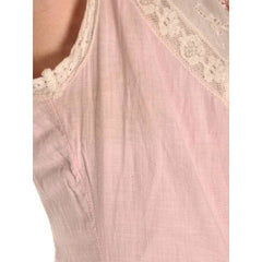 Antique Vintage Pink Polished Cotton Chemise Full Length Xsmall Pretty Princess - The Best Vintage Clothing  - 2
