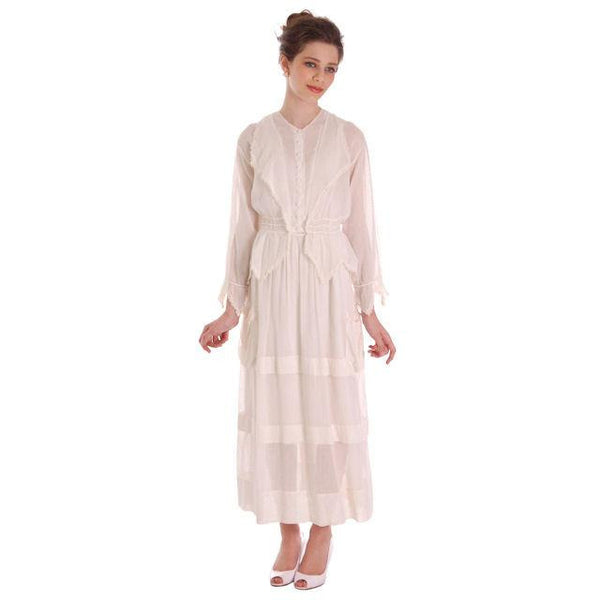 Vintage White Cotton Dress Titanic Era  1912-1914 36-27-Free - The Best Vintage Clothing  - 1