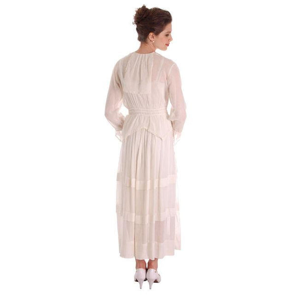 Vintage White Cotton Dress Titanic Era  1912-1914 36-27-Free - The Best Vintage Clothing  - 5