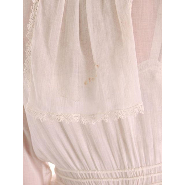 Vintage White Cotton Dress Titanic Era  1912-1914 36-27-Free - The Best Vintage Clothing  - 3
