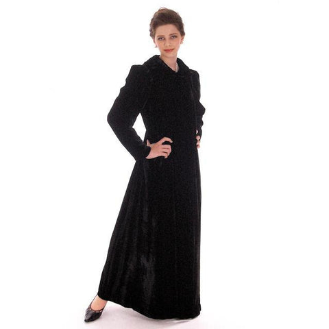 Vintage Black Silk Velvet Evening Coat 1930s  Full Length 38 bust
