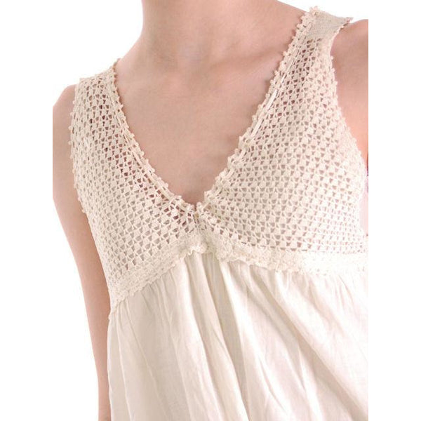 Antique Vintage Night Dress White Cotton/Crocheted Lace Yoke Perfect 38 Bust #2 - The Best Vintage Clothing  - 3