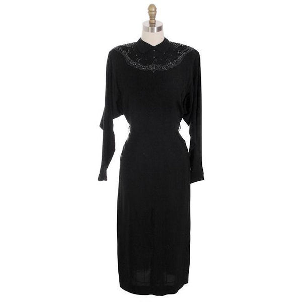 Vintage Dress Black Rayon Batwing Style Beaded Yoke Hot Style 1940s 34-26-38 - The Best Vintage Clothing  - 1