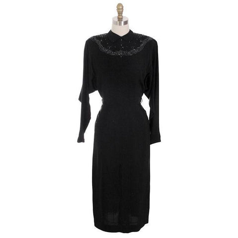 86d732e6f7c Vintage Dress Black Rayon Batwing Style Beaded Yoke Hot Style 1940s 34-26-38