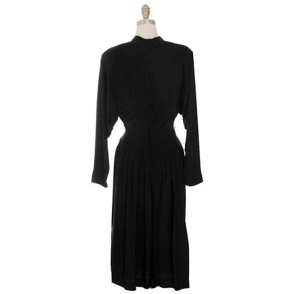 Vintage Dress Black Rayon Batwing Style Beaded Yoke Hot Style 1940s 34-26-38 - The Best Vintage Clothing  - 3
