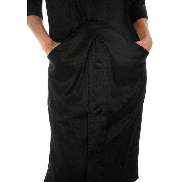 Vintage Black Satin Cocktail Dress Sack Style Nina Ricci Couture Paris 1958 - The Best Vintage Clothing  - 2