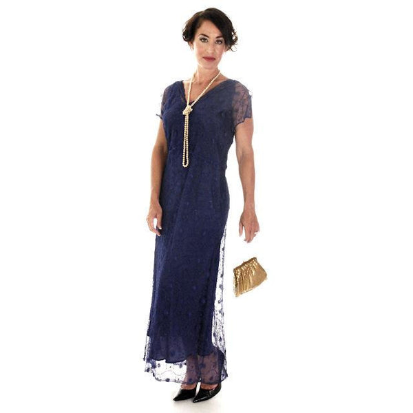 Vintage Bright Blue Spider Web Lace Bias Cut Gown 1930s 38-36-46 - The Best Vintage Clothing  - 2
