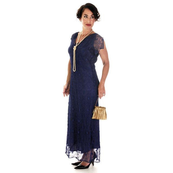 Vintage Bright Blue Spider Web Lace Bias Cut Gown 1930s 38-36-46 - The Best Vintage Clothing  - 3
