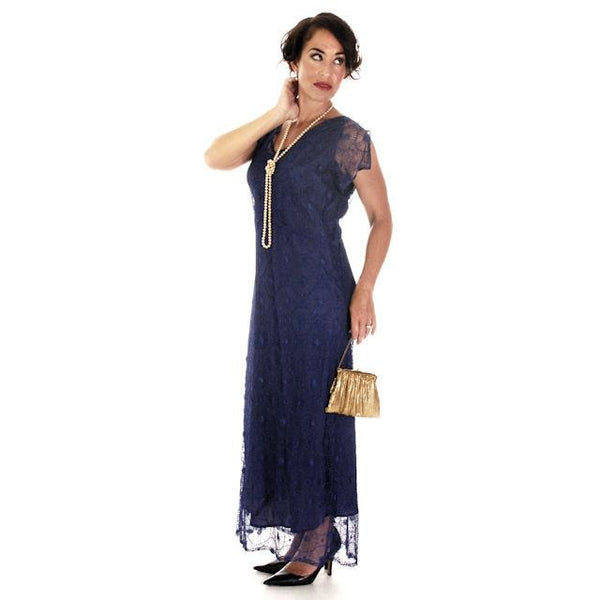 Vintage Bright Blue Spider Web Lace Bias Cut Gown 1930s 38-36-46 - The Best Vintage Clothing  - 1