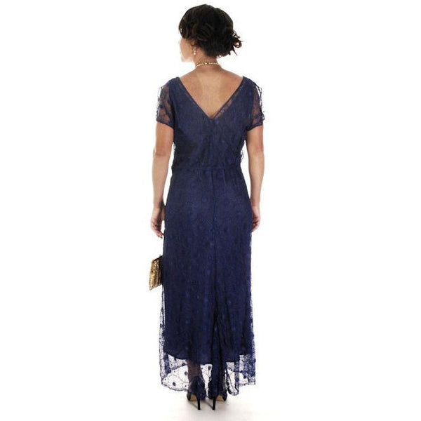 Vintage Bright Blue Spider Web Lace Bias Cut Gown 1930s 38-36-46 - The Best Vintage Clothing  - 9