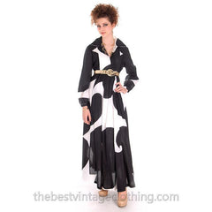 Dramatic Vintage 1960s Marimekko  Graphic Tent Dress Black & White S - The Best Vintage Clothing  - 6
