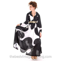 Dramatic Vintage 1960s Marimekko  Graphic Tent Dress Black & White S - The Best Vintage Clothing  - 9
