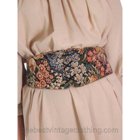Vintage Tapestry Belt Stretchy Back Wide 1980s S-M