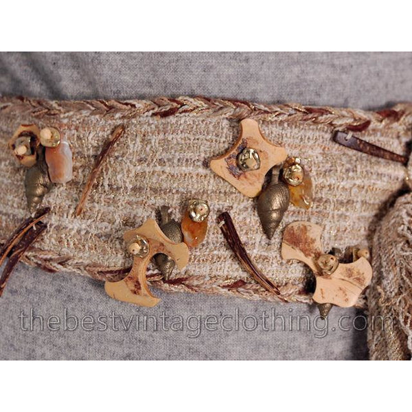 Vintage 1980s Belt Stijfselkissie Marijke Benedict Natural Linen Shells Wood Trinkets. Medium - The Best Vintage Clothing  - 2