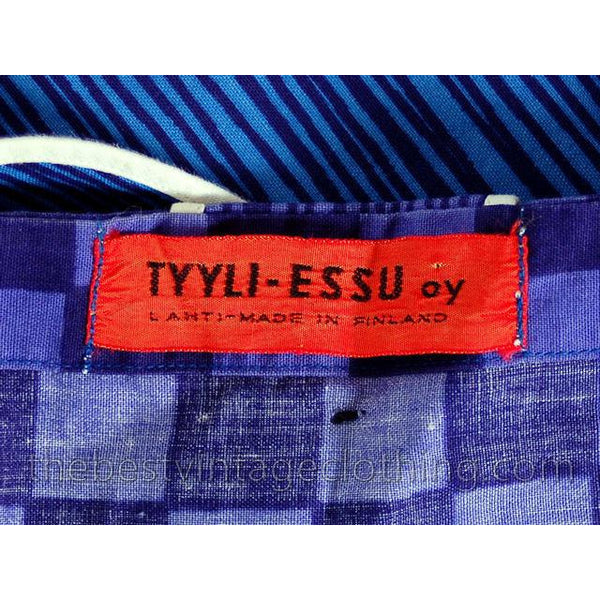 Vintage Pinafore Apron Dress Tyyli-Essu Oy Lahti Finland S-M 1960s - The Best Vintage Clothing  - 4