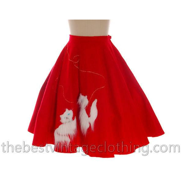 Vintage Circle Skirt Red Felt White Furry Kittens 1950s Large 32 Waist L - The Best Vintage Clothing  - 1