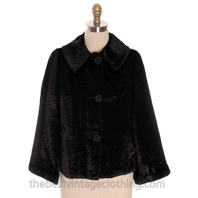 Vintage Faux Broadtail Lamb Swing Jacket Black Large 1940s - The Best Vintage Clothing  - 1