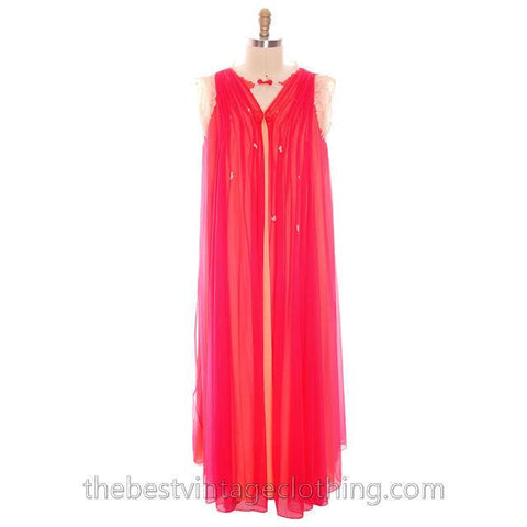 Vintage Sweeping Nylon Chiffon 2PC Peignoir Saks Fifth Ave Red Orange Eva Gabor 1960s