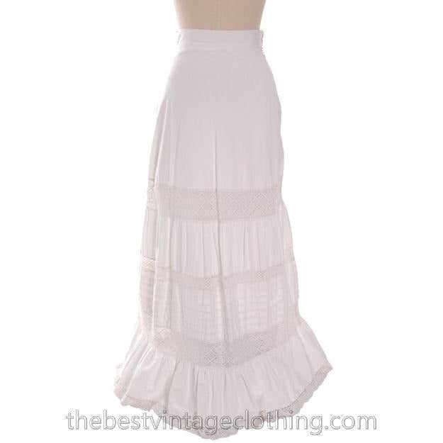Antique Victorian White Petticoat Skirt Fancy Crocheted Lace 25 Waist - The Best Vintage Clothing  - 1