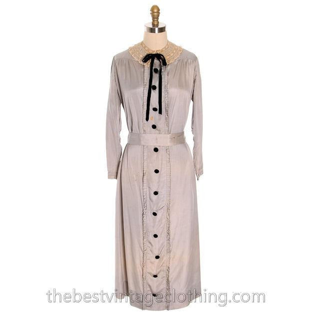 Vintage Antique Dress 1912- 1918 Silk Dress Edwardian Silver L Damaged - The Best Vintage Clothing  - 1