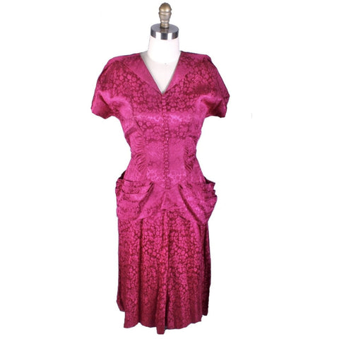 Vintage 1940s Dress Deep Magenta Damask WW2 Womens Sz S/M Hip Drapes