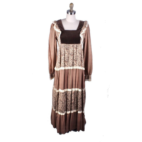 Vtg Marion Donaldson Cottagecore Hippy Prairie Dress Sz M/L Maxi Brown Pattern Mix