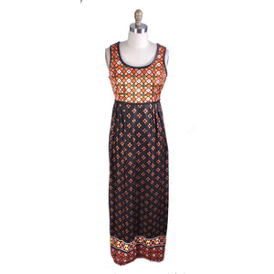 VTg 1960s Maxi Dress Gown Polka Dot Border Print Knit Sz S/M Knit Hippie Boho