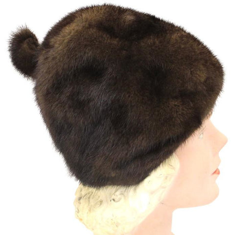 "VTG Mink Fur Hat Dark Brown Amrose New York 21 3/4"" Cool Shape Near Mint 1960s"