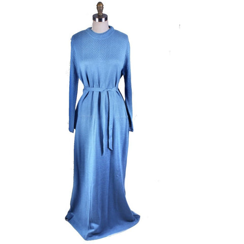 Vintage Blue Sweater Dress Parnes Feinstein Womens Large Maxi NWOT