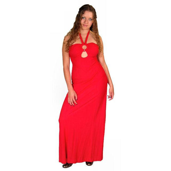 Vintage Red Halter Maxi Dress/Jacket Young Edwardian 1970S 34-30-44 - The Best Vintage Clothing  - 1