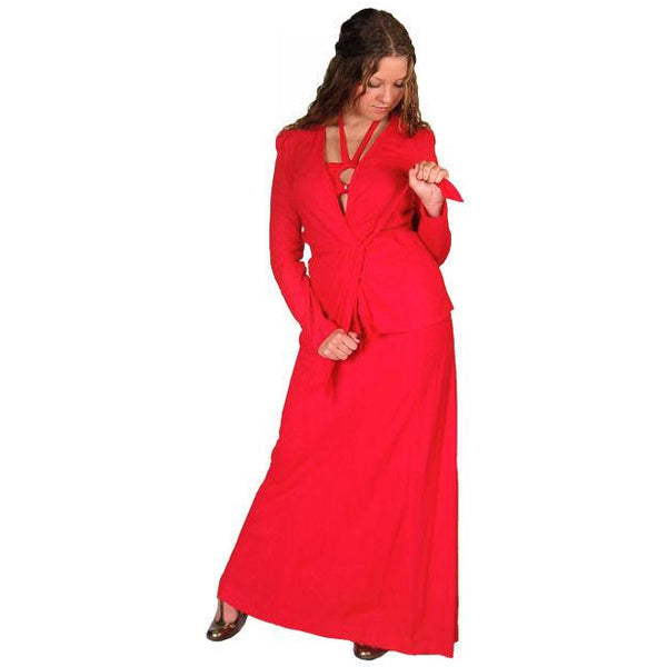 Vintage Red Halter Maxi Dress/Jacket Young Edwardian 1970S 34-30-44 - The Best Vintage Clothing  - 2