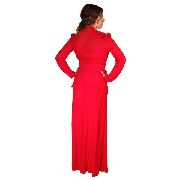 Vintage Red Halter Maxi Dress/Jacket Young Edwardian 1970S 34-30-44 - The Best Vintage Clothing  - 3