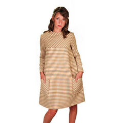 Vintage Mod Mini Dress Wool Hounds-tooth Check Craig 1970S 36 Bust - The Best Vintage Clothing  - 1