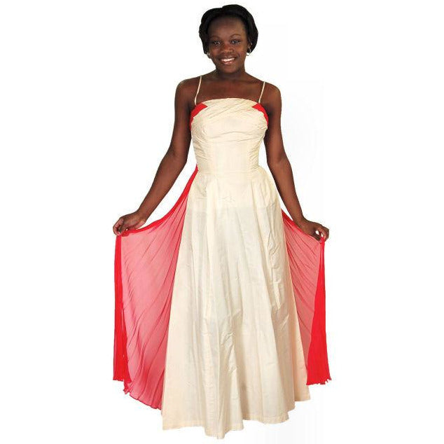 Vintage Strapless Silk Ball Gown Cream & Red 1940S 32-24-Free - The Best Vintage Clothing  - 1