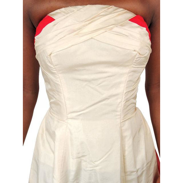 Vintage Strapless Silk Ball Gown Cream & Red 1940S 32-24-Free - The Best Vintage Clothing  - 5