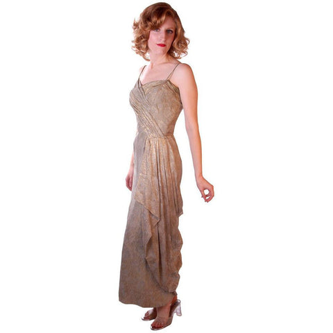 Stunning Vintage Gold Silk Metallic Brocade Evening Gown 1950S Small