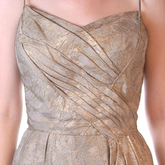 Stunning Vintage Gold Silk Metallic Brocade Evening Gown 1950S Small - The Best Vintage Clothing  - 5
