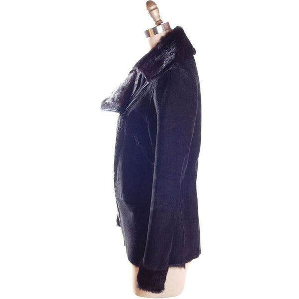 Vintage Womens Black  Pony/Suede Asymmetrical  Zipper Jacket 1970s Italy  App.Size 6 - The Best Vintage Clothing  - 3